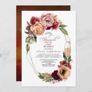 Brunch and Bubbly Floral Modern Fall Bridal Shower Invitations