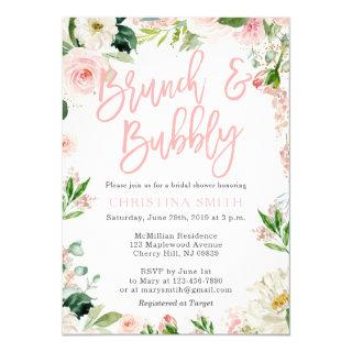 Brunch and Bubbly Invitations Blush Pink Florals