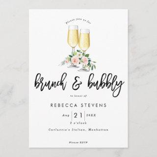 brunch and bubbly pink floral bridal shower invitation