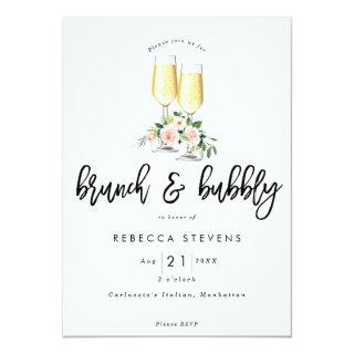 brunch and bubbly pink floral bridal shower Invitations