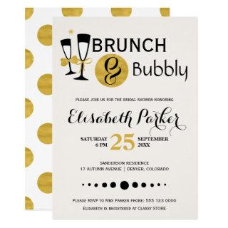 Brunch and bubbly white black gold bridal shower invitation