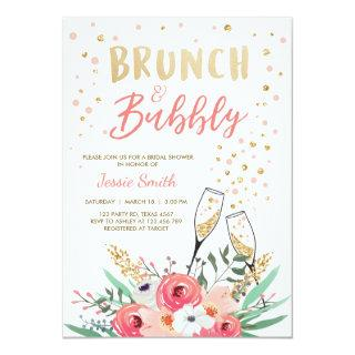 Brunch & Bubbly Bridal Shower Pink Gold Champagne Invitations