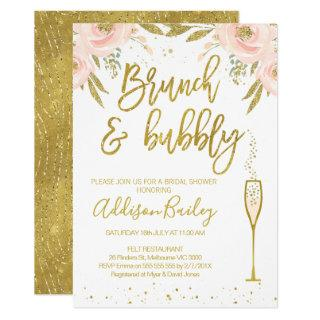 Brunch Bubbly  Champagne Bridal Shower Invitation
