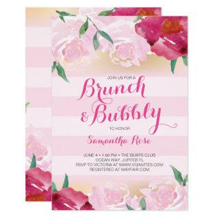 Brunch & Bubbly Flowers Bridal Shower Invitations