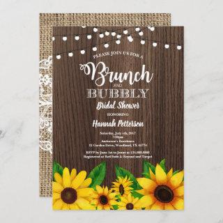 Brunch & Bubbly invitation Sunflower rustic