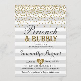 Brunch Bubbly Neutral Gray Grey Chic Bridal Shower Invitations