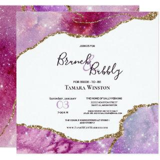 Brunch & Bubbly Pink Purple Gold Agate Shower Invitations