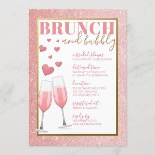 BRUNCH & BUBBLY   ROSE GOLD CHAMPAGNE Invitations