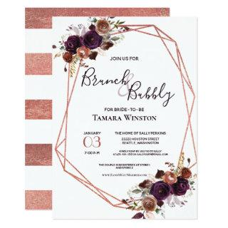 Brunch & Bubbly Rose Gold Purple Geometric Shower Invitations