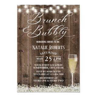 Brunch & Bubbly Rustic Baby's Breath Bridal Shower Invitations