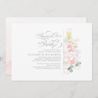 Brunch with the Bride Pink Floral Bridal Shower Invitations