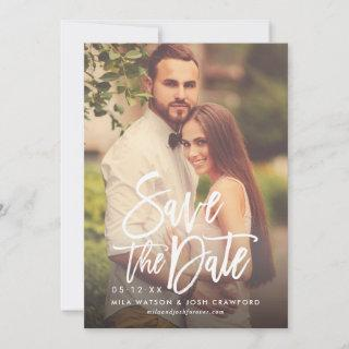 Brush Lettered Script   Blush Pink Wedding Photo Save The Date