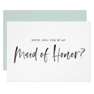 Brush Lettering Mint Will You Be My Maid Of Honor Invitation