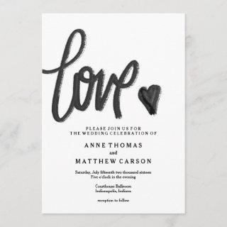 Brush Script Love | Wedding Invitations