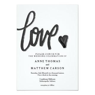 Brush Script Love | Wedding Invitation