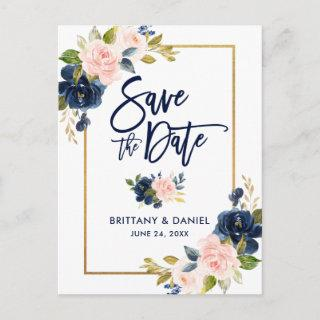 Brush Script Pink Blue Floral Gold Save the Date Announcement Postcard