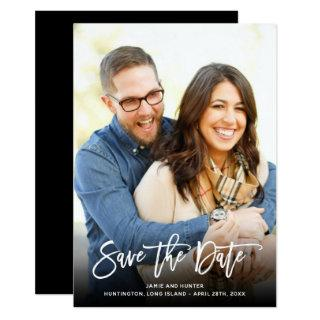 Brush Script White Full Photo Save the Date Card