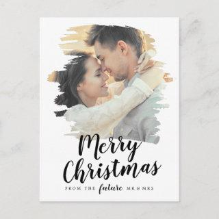 Brushed Merry Christmas Save the Date Photo Holiday Postcard