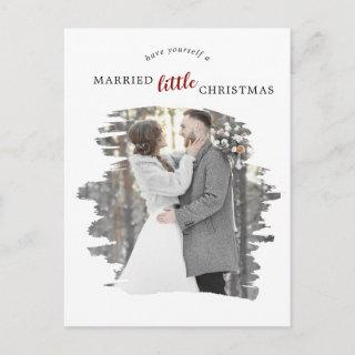 Brushed Red Marry Little Christmas Save the Date Holiday Postcard