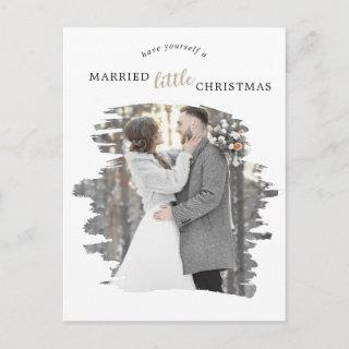 Brushed Tan Marry Little Christmas Save the Date Holiday Postcard