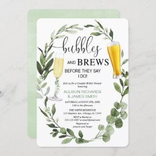 Bubbles and Brews greenery couples bridal shower Invitations
