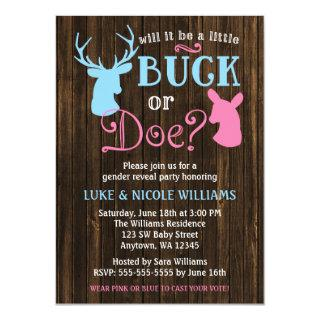 Buck or Doe Gender Reveal Party Baby Shower Invitations
