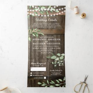 Budget All in One Rustic Greenery Wedding Tri-Fold Invitation