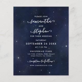 Budget Blue Sky & Silver Stars Wedding Invitation