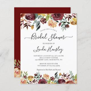Budget Burgundy Floral Bridal Shower Invitations