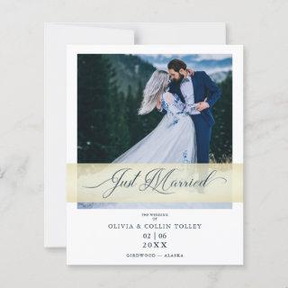 Budget Cheap Photo Just Married Hand Letterd Quote