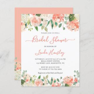 Budget Chic Coral Floral Bridal Shower Invitation