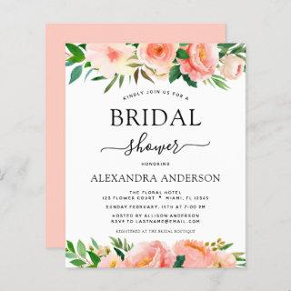 Budget Coral Peach Floral Bridal Shower Invitations