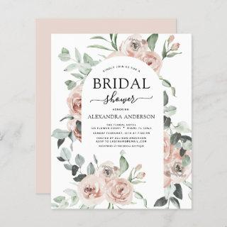 Budget Dusty Pink Floral Bridal Shower Invitations