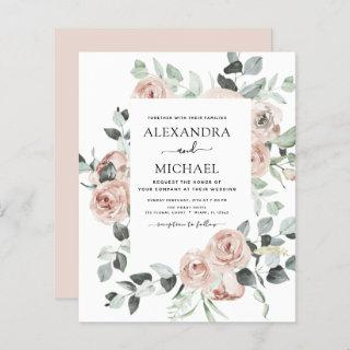Budget Dusty Pink Floral Wedding Invitations
