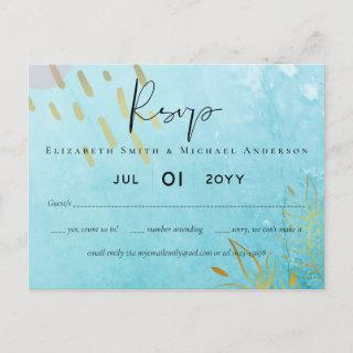 BUDGET DustyTeal Gold Abstract Wedding Postcard