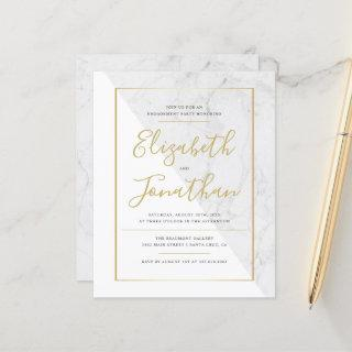 Budget Elegant Typography Marble Engagement Party