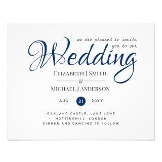 BUDGET Flyer Paper Navy Blue Wedding