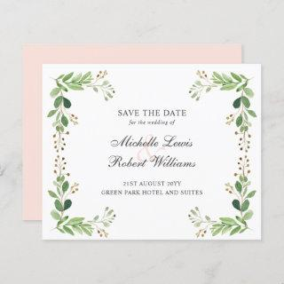 BUDGET Green leaves Summer wedding SAVE THE DATE
