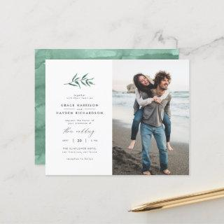 Budget Green Watercolor Branch Wedding Photo