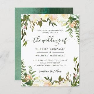 Budget Greenery Watercolor Floral Wedding Invites