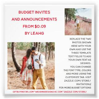 BUDGET Invitations Announcement Save the Date PHOTO
