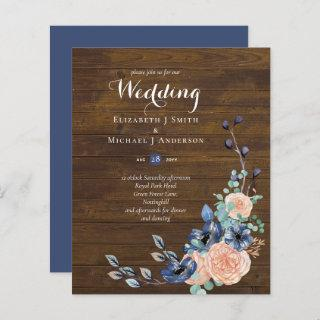 Budget Navy Blue and Coral Wedding Woodland