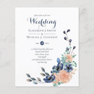 Budget Navy Blue Coral Floral Wedding Invites
