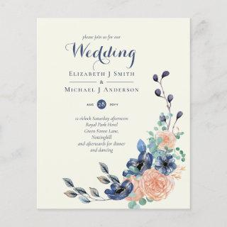 BUDGET Navy Coral Floral Wedding Invitations