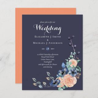 BUDGET Navy Peach Floral Wedding Invitation