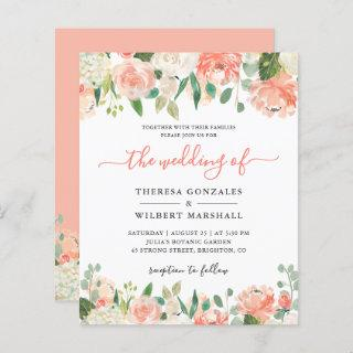 Budget Pastel Coral and Peach Wedding Invitations