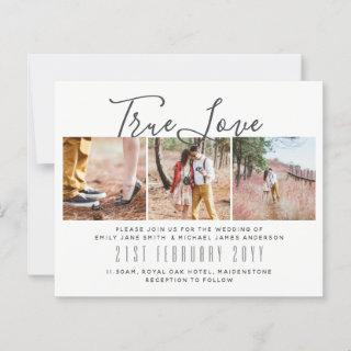 Budget Photo Collage Overlay Text Wedding Invites