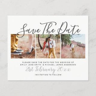 Budget Photo Collage Save The Dates Modern White