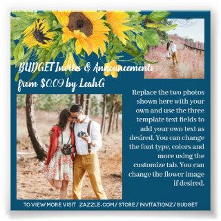 BUDGET Photo Sunflower Text Template Invites  ANY