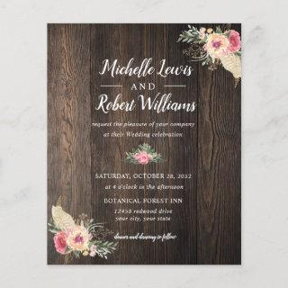BUDGET Pretty Wood texture Pink Floral wedding
